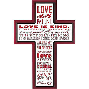 Love is Patient - Stacked Cross Plaque