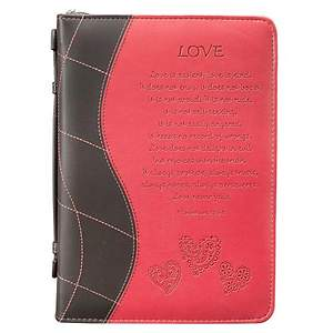 BIBLE COVER LOVE BROWN PINK HEARTS MEDIUM