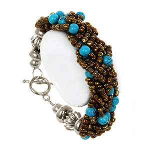 Java Braided Bead Bracelet - Bronze and Turquoise