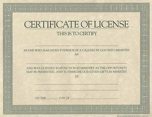 Certificate License for Minister