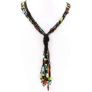 Java Beaded Necklace - Multi-stone and colors