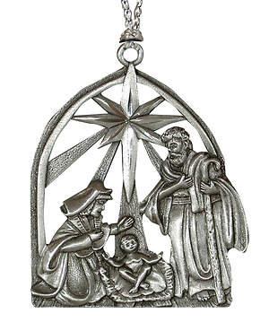 Pewter Creche Christmas Ornament