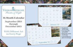 Thomas Kinkade Painter of Light 2014-15 16-Month Desk Pad Calendar