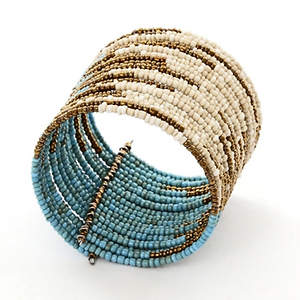 Java Abstract Bead Cuff Bracelet - Turquoise Adjustable