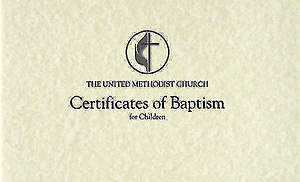 United Methodist Child Baptism Flat Certificate (Pad of 26)